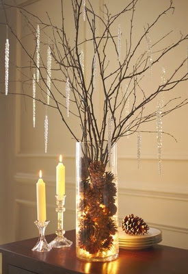 gorgeous Christmas decoration with branches, crystal items and pine cones
