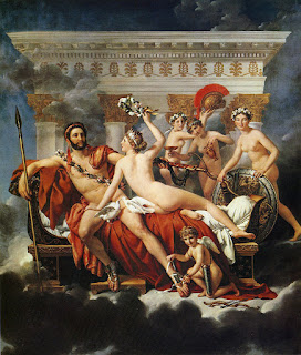 Mars Disarmed by Venus and the Three Graces (1824) at (Royal Museum of Fine Arts, Brussels, Belgium) by the French Artist Jacques Louis David (1748-1825)