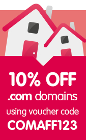 10% off .com domains with code COMAFF123