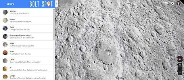 Tampilan Bulan dari pembaruan terbaru Google Maps