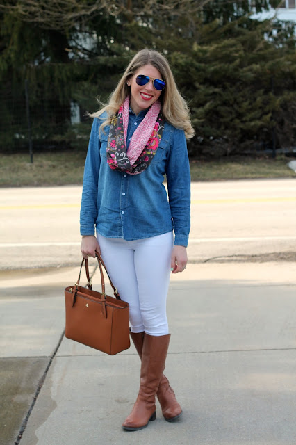 chambray button up, white jeans, cognac riding boots, Tory Burch Tote, coral scarf