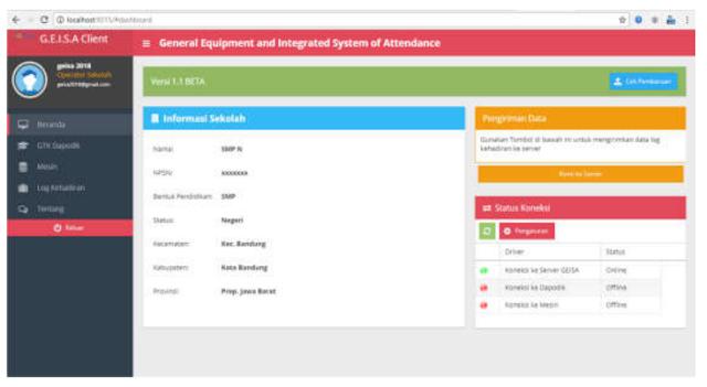 Tampilan Utama Aplikasi Geisa Client
