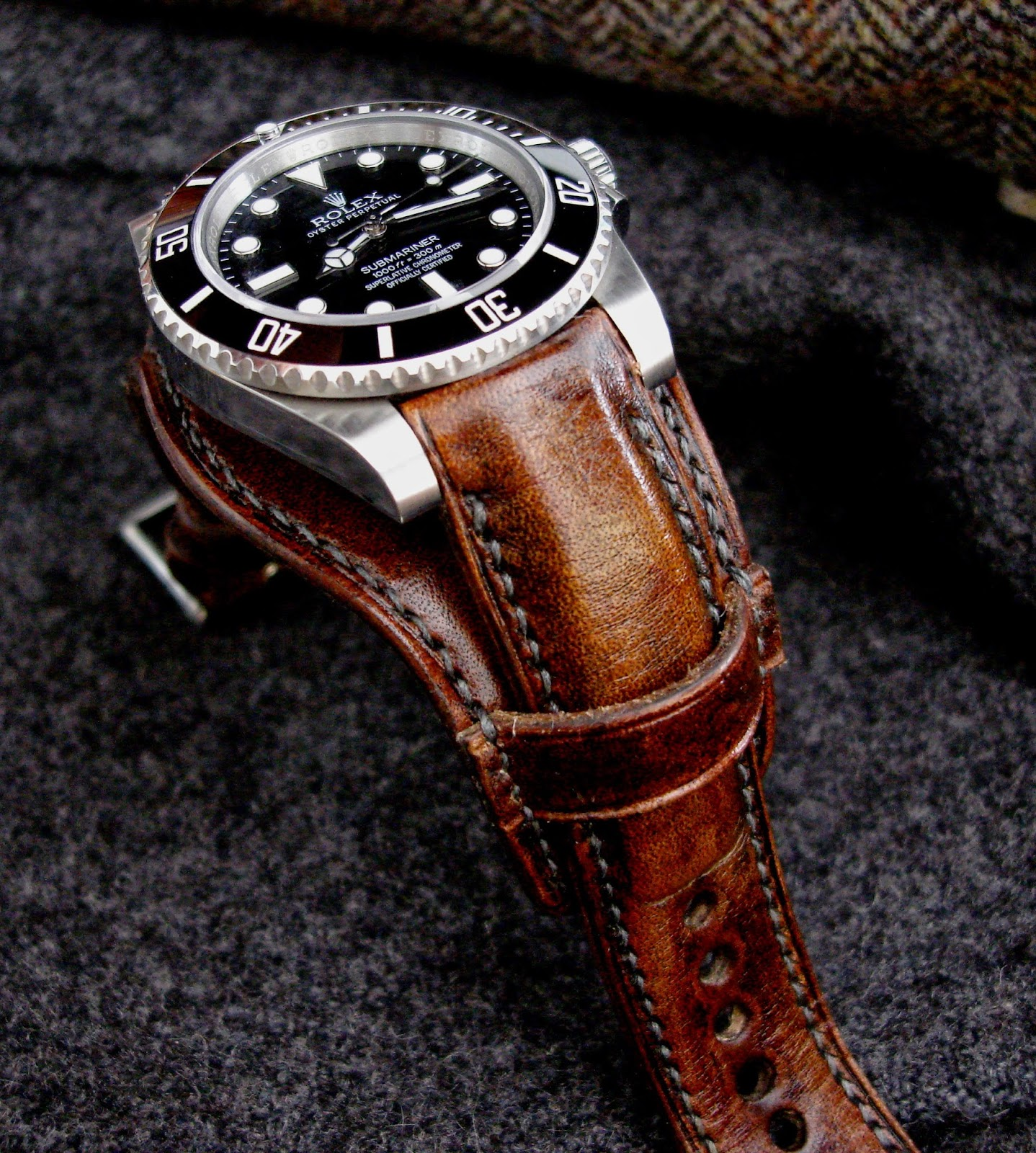 Dangerous9straps antique french oak bund strap for rolex sub for What is bespoke leather