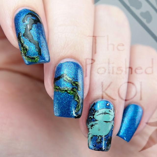 Nvr Enuff Polish The Lake Harry Potter nail art