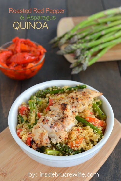 Roasted Red Pepper Asparagus Quinoa on insidebrucrewlife.com