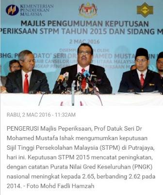 pengumuman keputusan peperiksaan stpm 2015