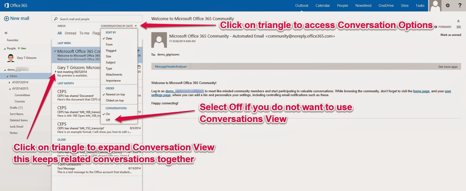 Day 16 – How to Turn Off Conversations View in Outlook Web App | ITC
