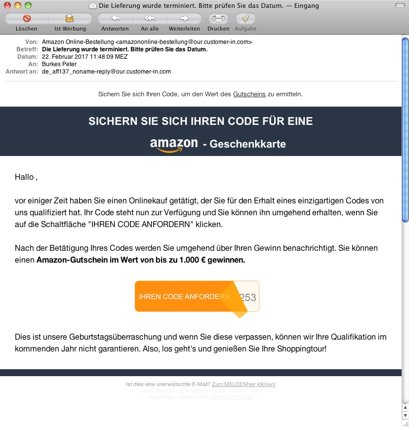 Amazon gutschein email fake