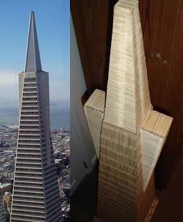 Piramide transamericana con palillos para dientes o Picadientes de madera