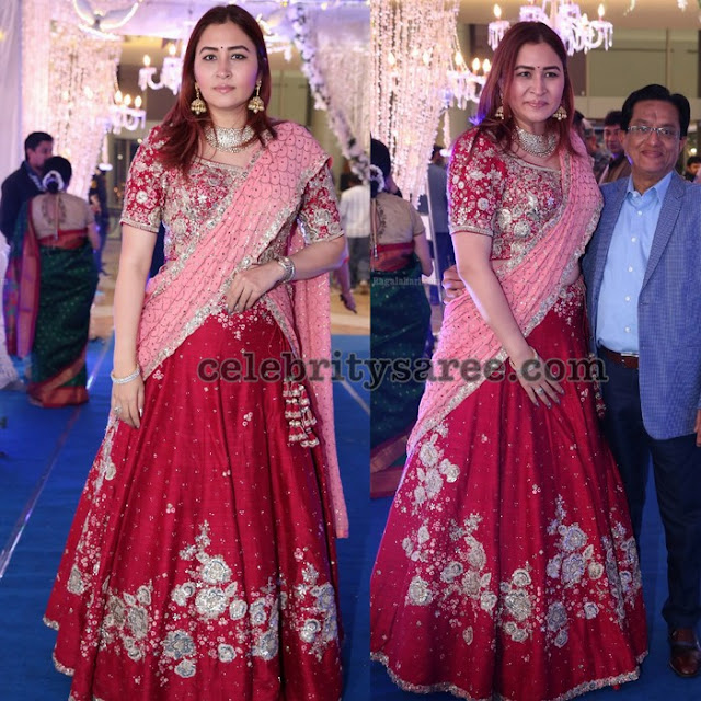 Jwala Gutta Red Embroidered Half Saree