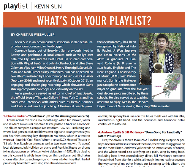 JazzEd Listening Playlist, by Kevin Sun - November/December 2016 Issue