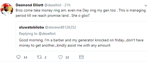 Desmond Elliot Response To A Fan Soliciting For New Generator For His Business Shocks Fans