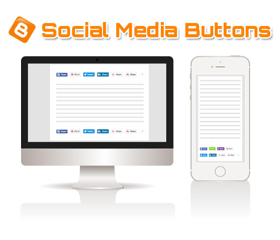 add social media buttons to blogger posts