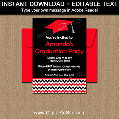 high school graduation invitation printable - black with red and white accents