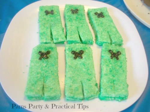 Creeper Marshmallows for a Video Game Party