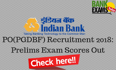 Indian Bank PGDBF PO 2018: Prelims Scores Out