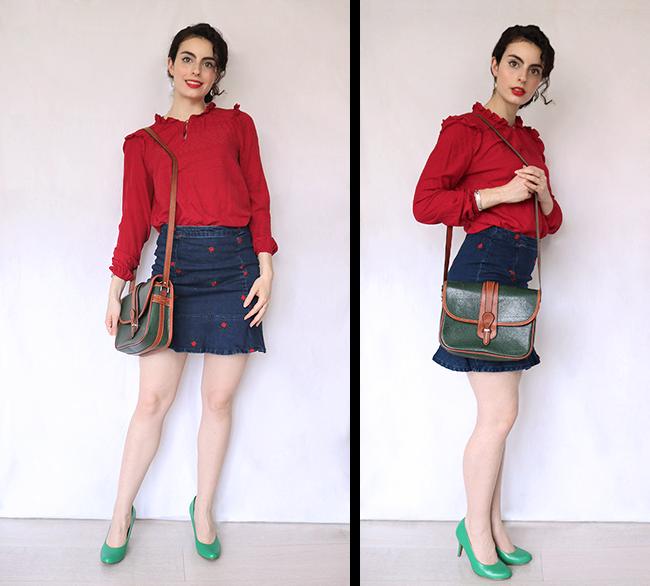 Ensemble Naf Naf, jupe en jean, blouse rouge, escarpins verts, sac vintage