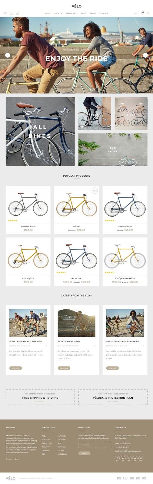 Velo Responsive Magento Theme for Bike Shops