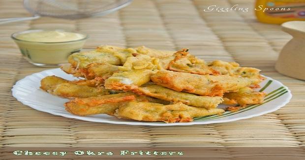 Cheesy Okra Fritters
