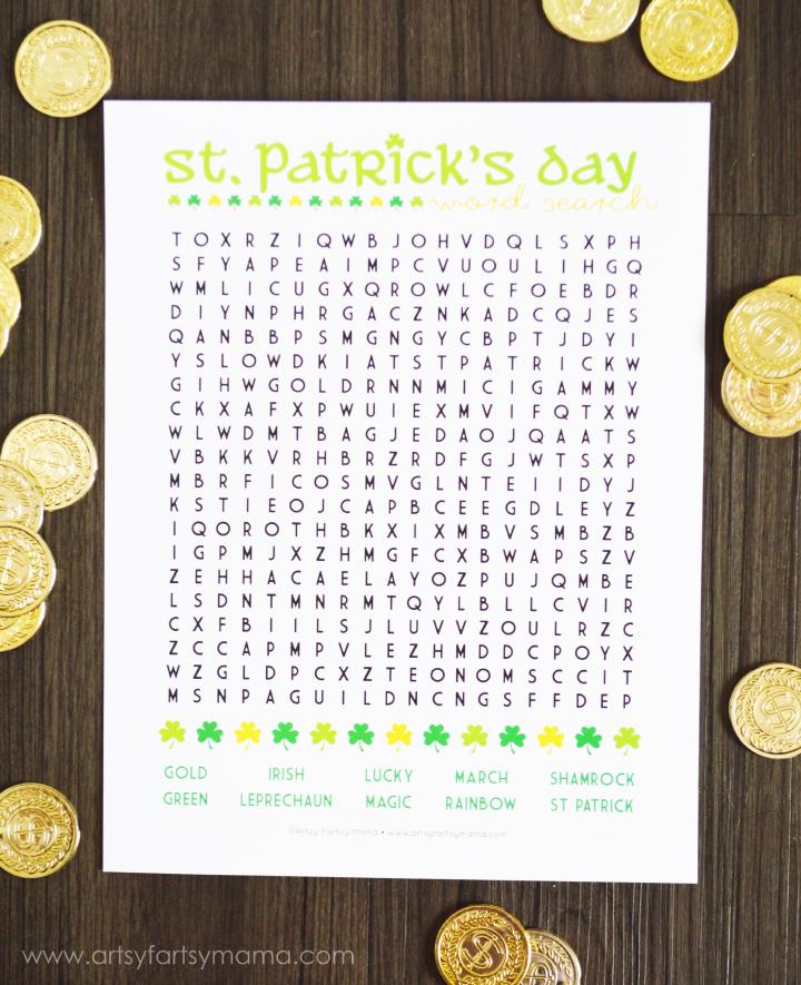 Free Printable St. Patrick's Day Word Search at artsyfartsymama.com #freeprintable