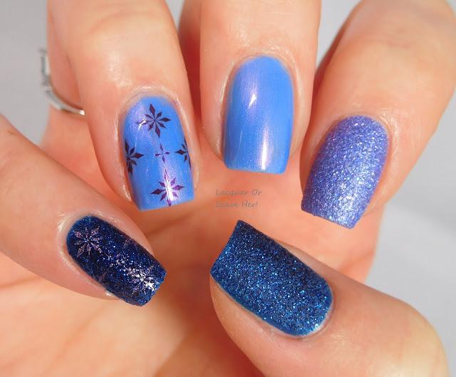 Lina Nail Art Supplies 4 Seasons -Winter 01 over Zoya Waverly, Saint, and Alice