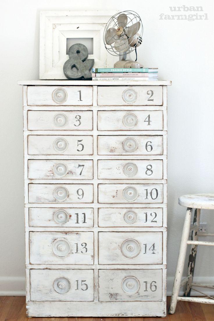 Vintage inspired numbered cabinet
