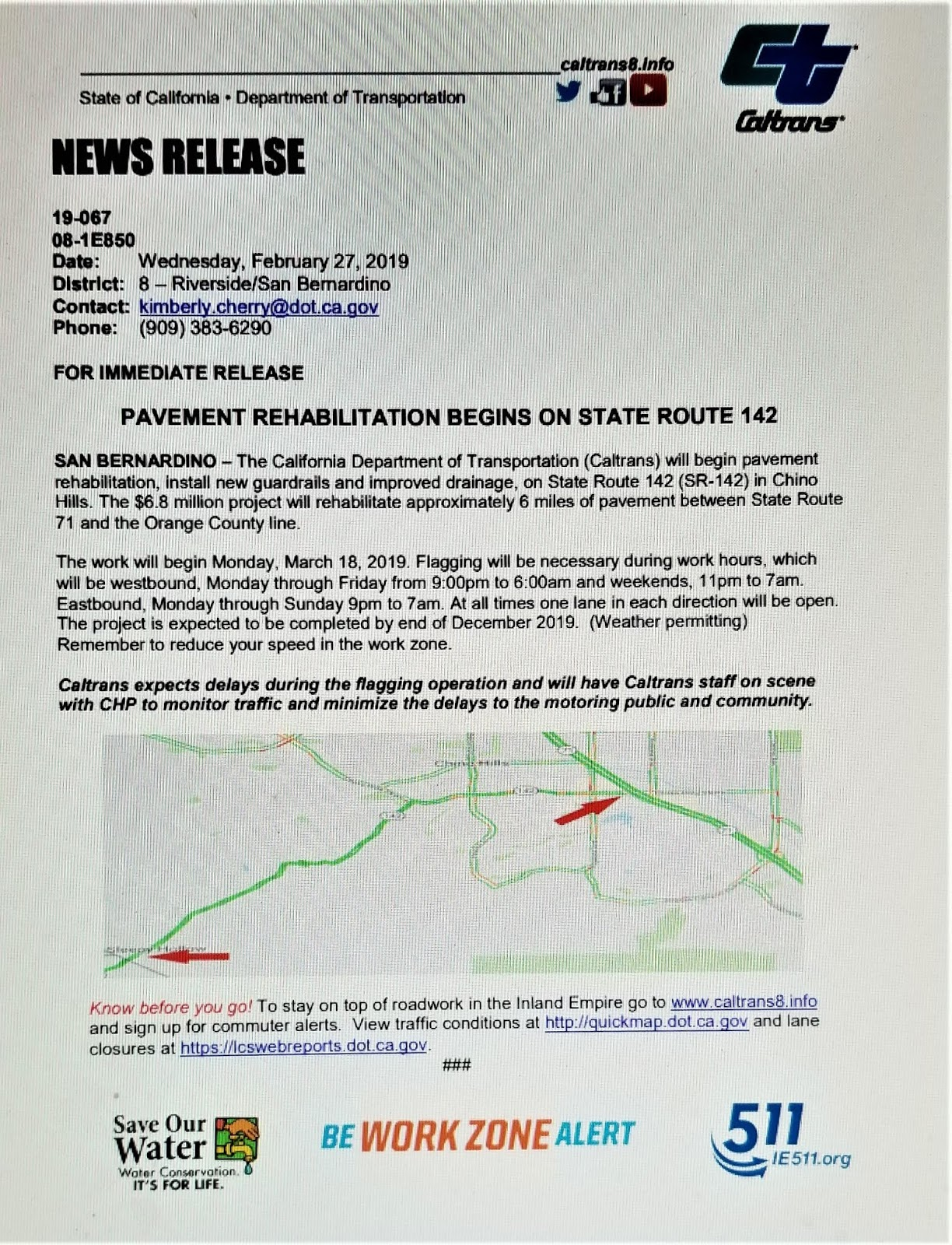 Carbon Canyon Chronicle: State Highway 142 Rehabilitation