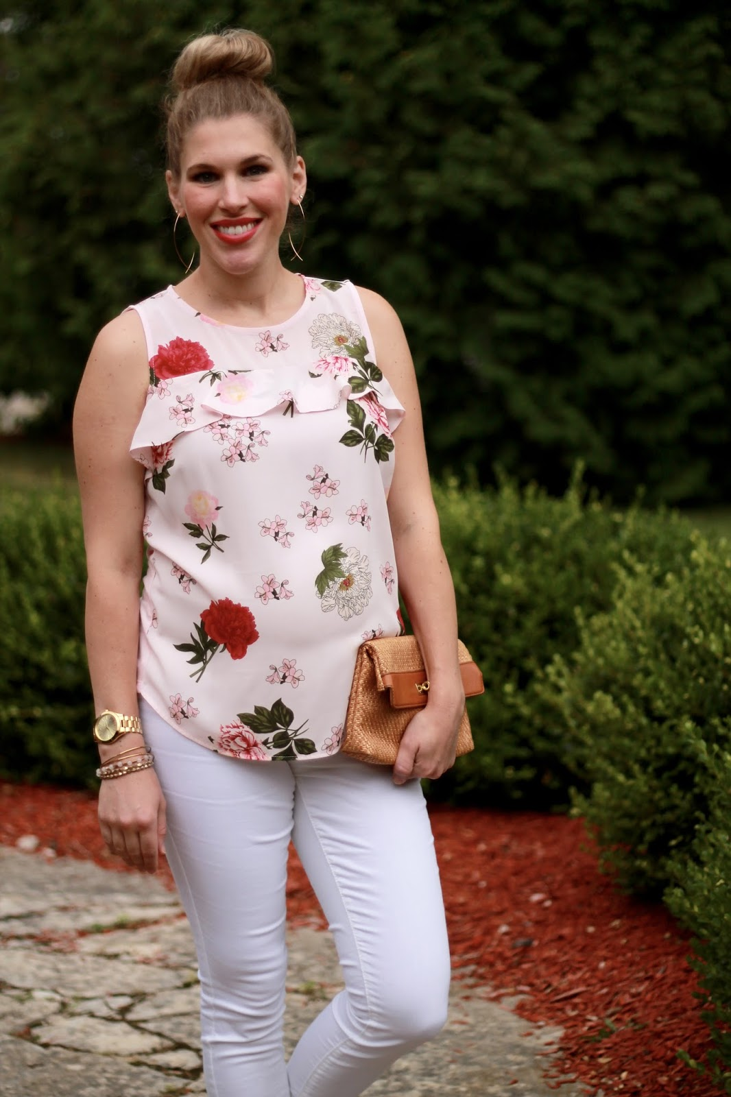 ruffled pink floral sleeveless top, white jeans, summer maternity outfit, blush lace up shoes, straw clutch