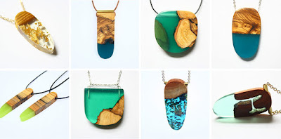 Resina cristal joyas y madera