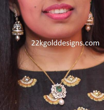 Diamond Pendant and Diamond Jhumkas