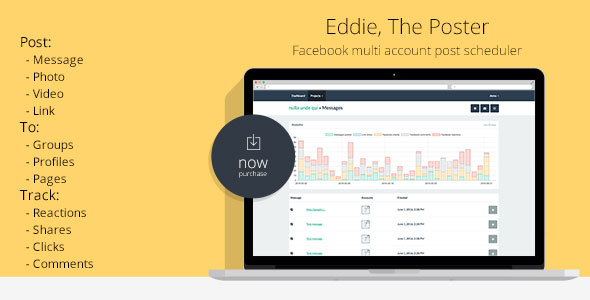 Eddie - The Poster | Facebook multi account post scheduler ~ Codecanyon