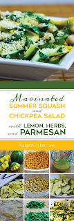 Marinated Summer Squash and Chickpea Salad with Lemon, Herbs, and Parmesan found on KalynsKitchen.com