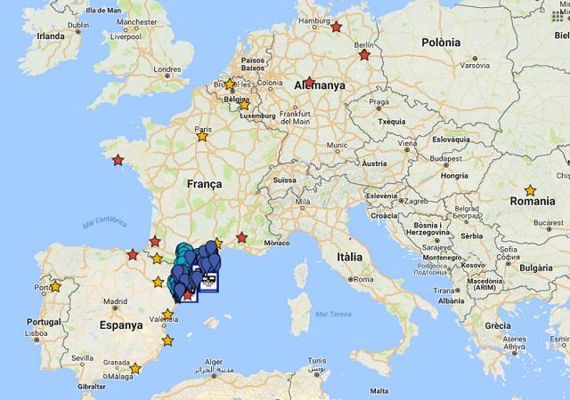 Mapa dels lloc visitats per Europa
