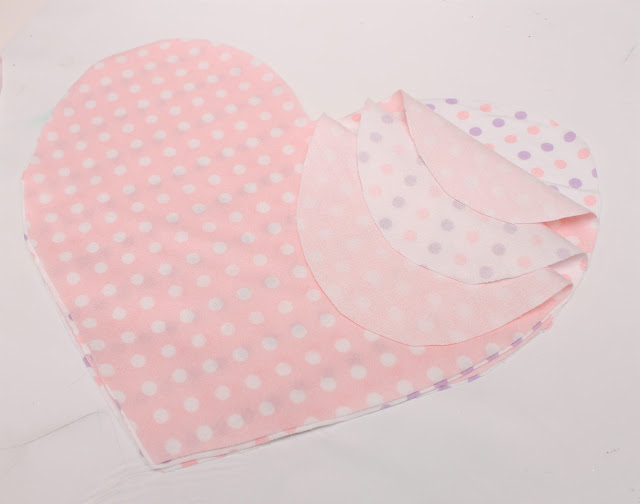 4 layers of fabric hearts