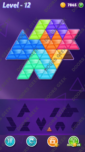 Block! Triangle Puzzle 9 Mania Level 12 Solution, Cheats, Walkthrough for Android, iPhone, iPad and iPod