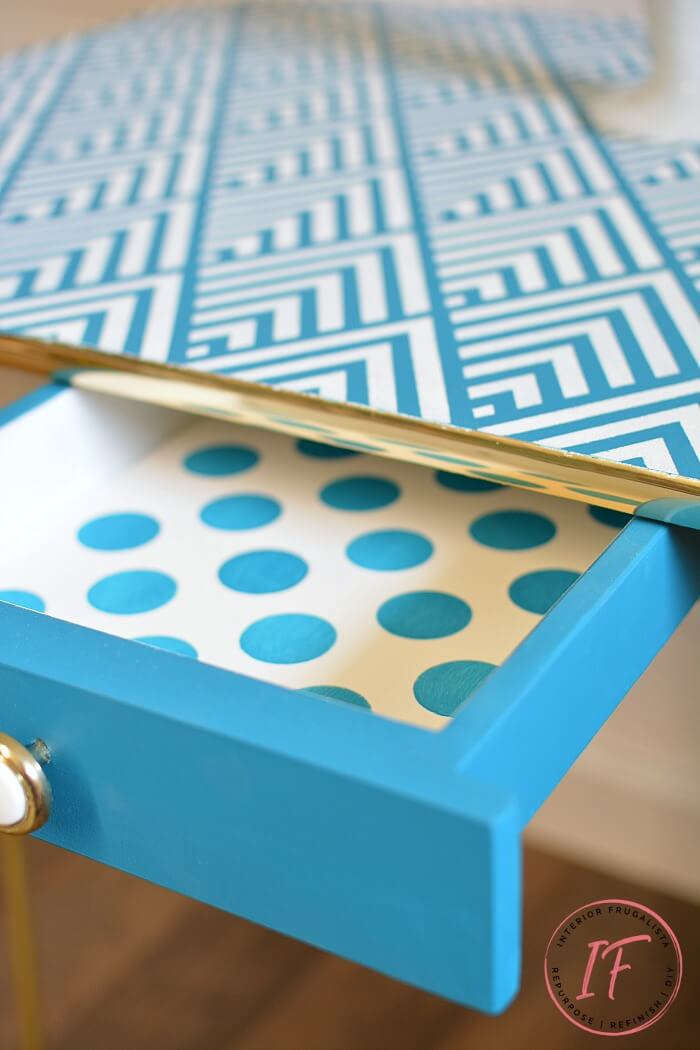 Blue Polka Dot Stenciled Arborite Retro Dining Table