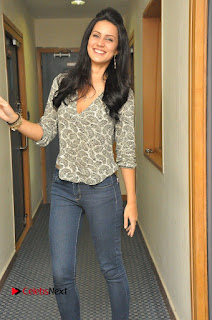 Actress Larissa Bonesi Pictures in Jeans at Big FM For Thikka Movie Promotions 0013