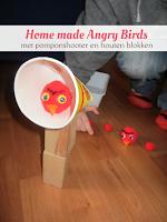Home made Angry Birds - met pomponshooter en houten blokken