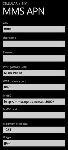Optus MMS Settings for Microsoft Lumia Windows 10 Mobiles