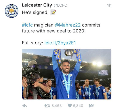 Leicester city Player of the season Riyad Mahrez signs new 4year contract with club