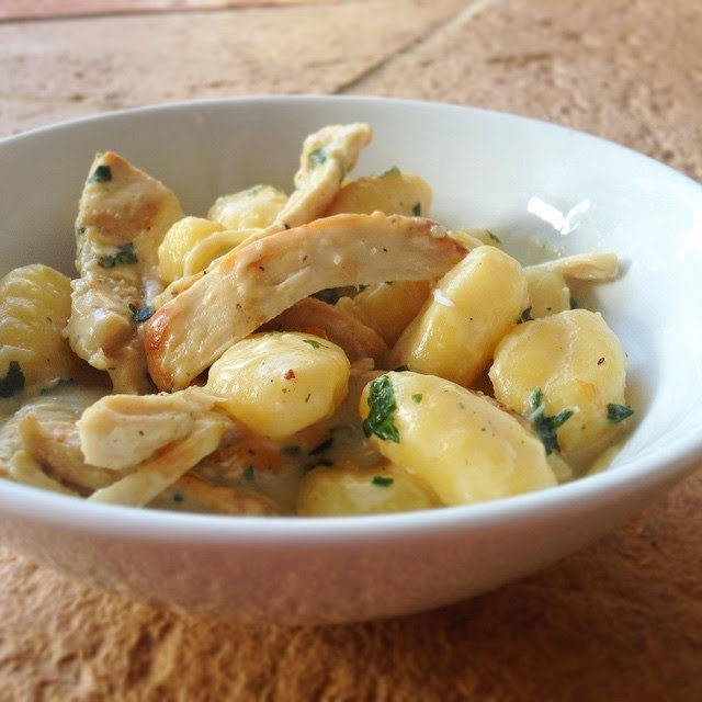 Gnocchi with Cheesy Sauce, Grilled Chicken and Fresh Herbs