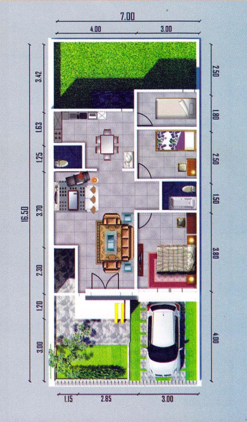 denah rumah ukuran 7x12 satu lantai minimalis 3