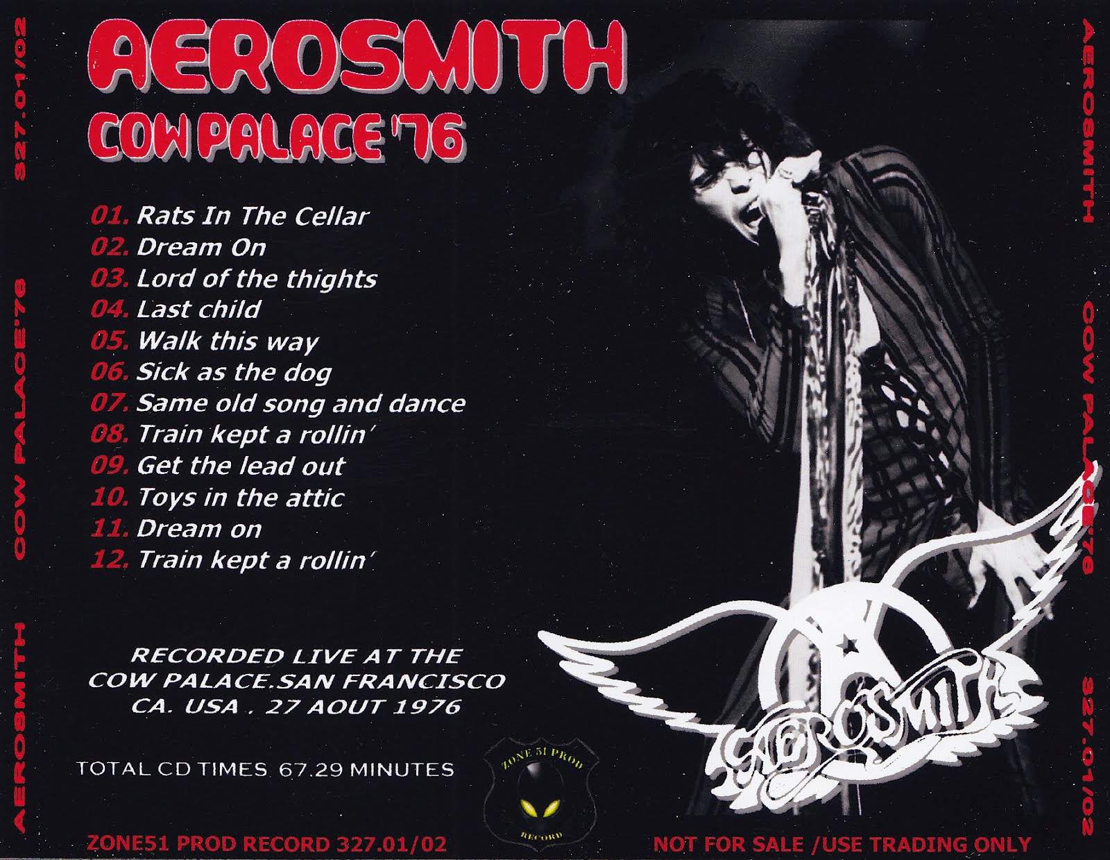 Aerosmith Bootlegs Cover Arts Cow Palace 76 San