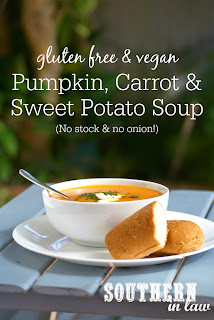 Healthy Pumpkin Carrot and Sweet Potato Soup Recipe without Onion or Stock