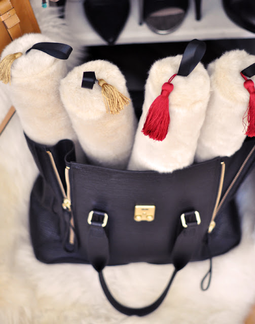 diy boot stuffers, phillip lim bag, faux fur boot shapers