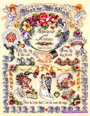 schema punto croce sampler matrimonio
