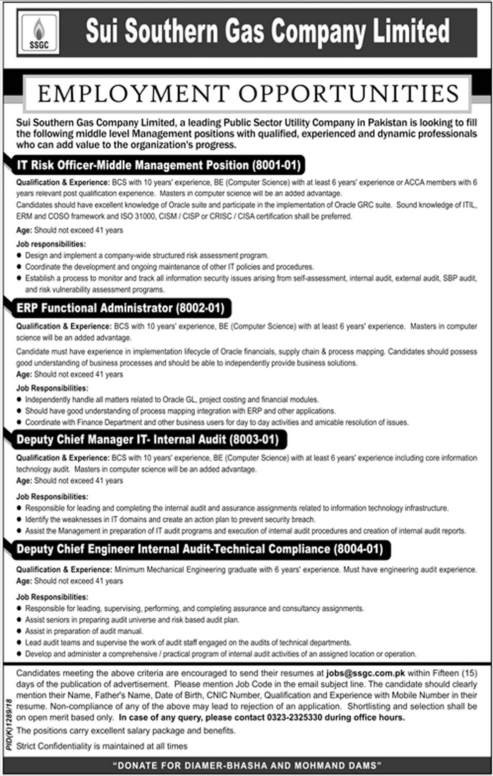 Latest Vacancies Announced in Sui Southern Gas Company Limited SSGC 10 October 2018 - Naya Pakistan