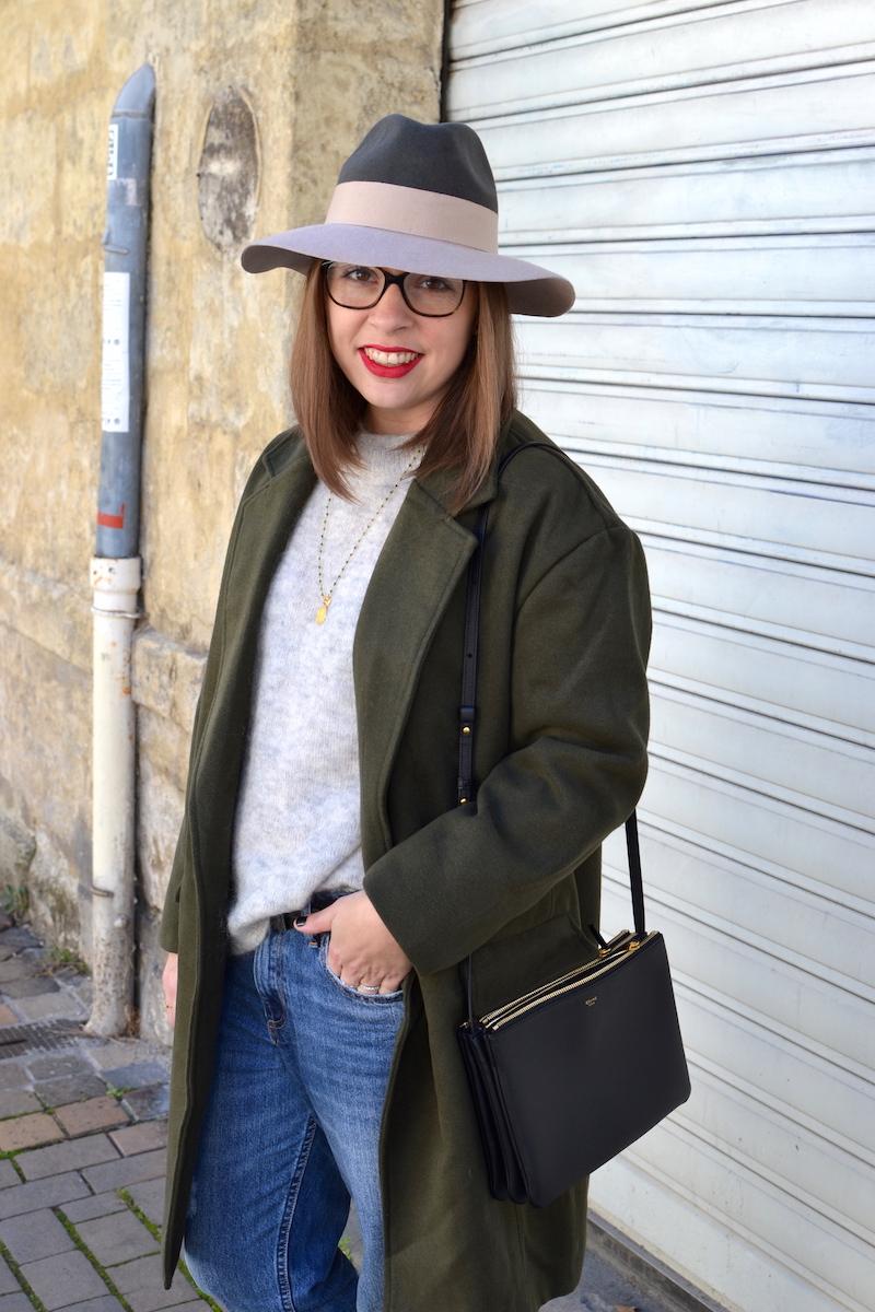 jean H&M,pull gris H&M, chapeau kaki et rose pastel, manteau kaki de Sheinside, trio bag Céline