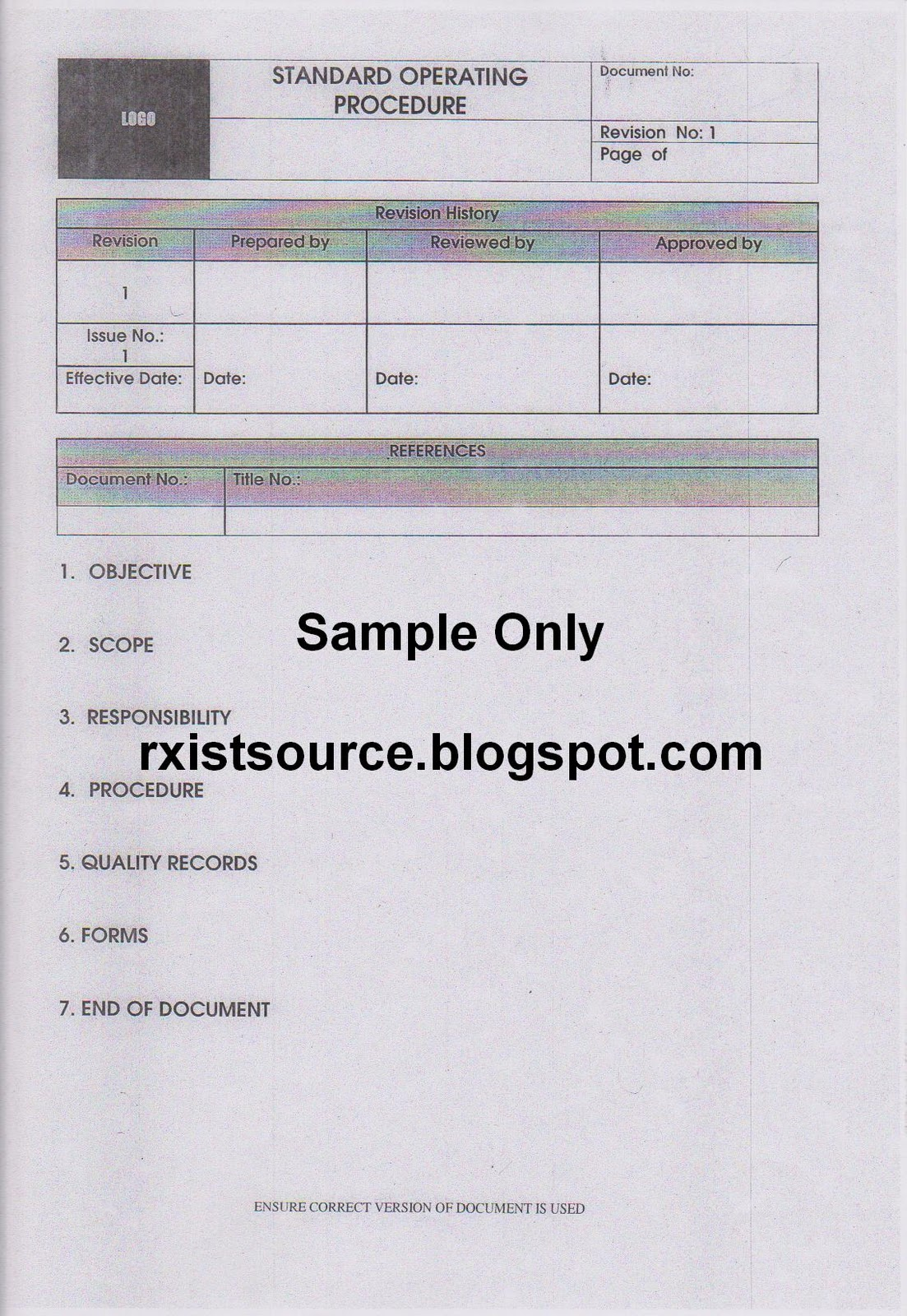 Pharmacy standard operating procedures template gallery for Fda sop template