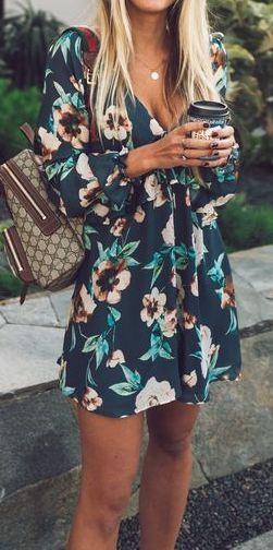 outfit of the day | brown backpack and floral dress